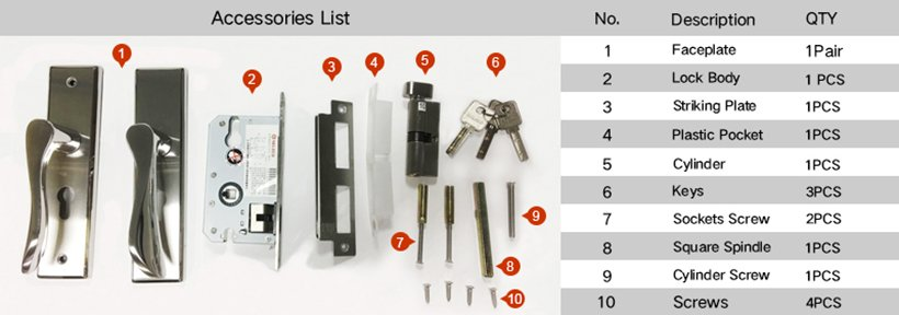 zinc alloy door lock hardware modern hotel door freedom series-8