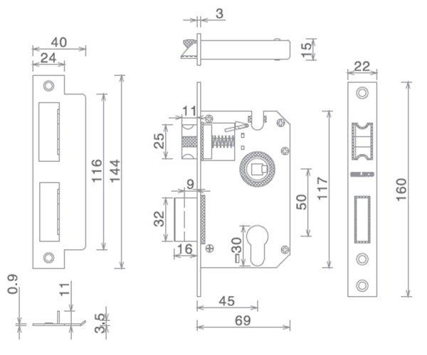 SELECO hollow split metal door lock at discount-4