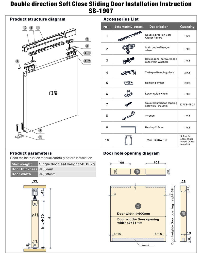 SELECO Brand hanger buffering sliding door tracks and wheels direction supplier