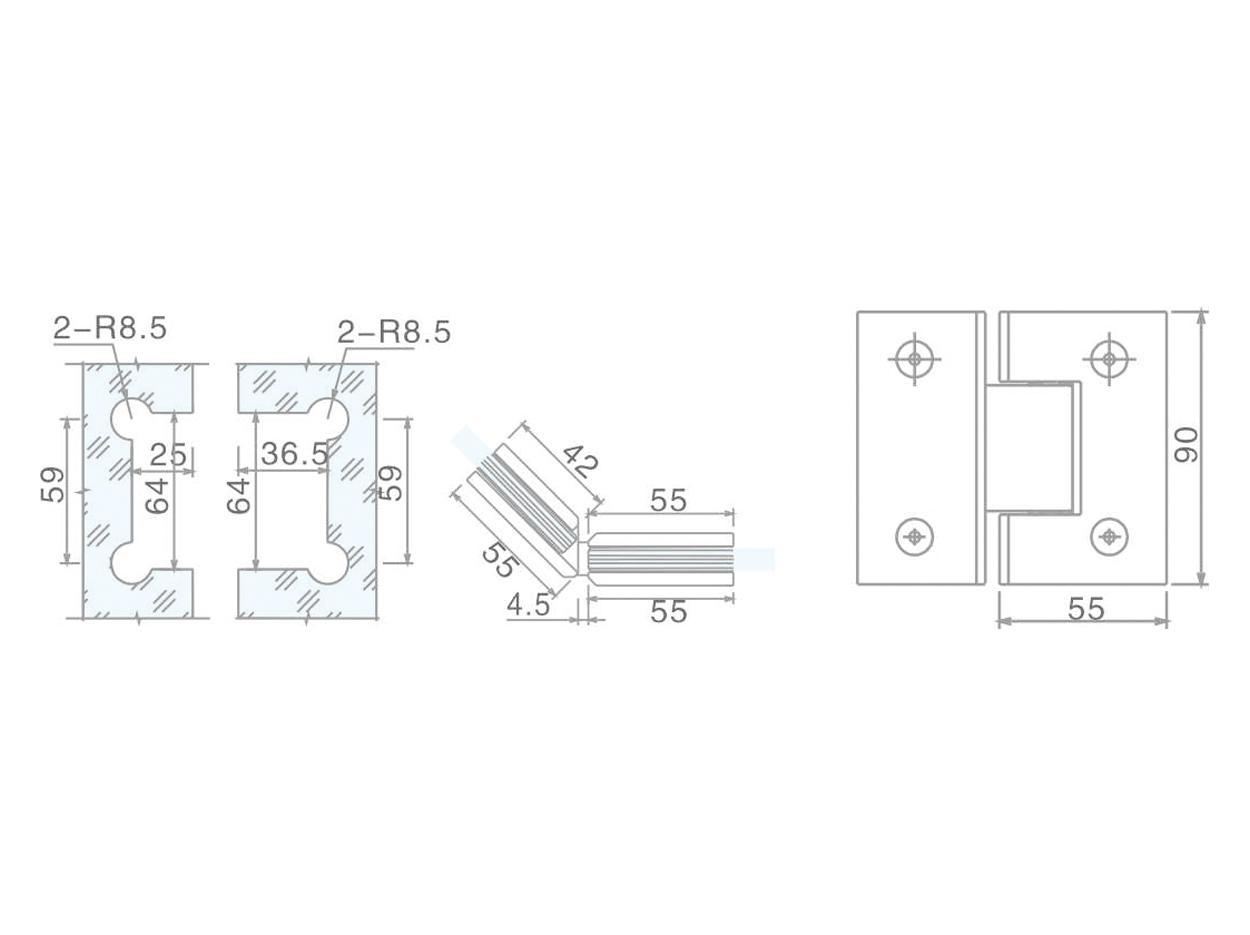 professional shower hinges glass hardware wholesale bathroom door-2