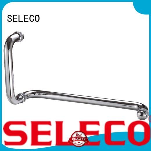 SELECO dual direction glass shower door handles with PVC gasket door parts