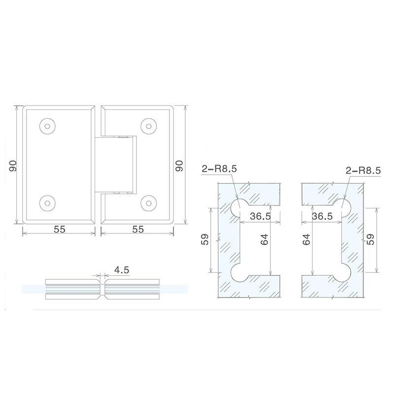 SELECO 135 degree shower hinges glass hardware chic design at discount-2